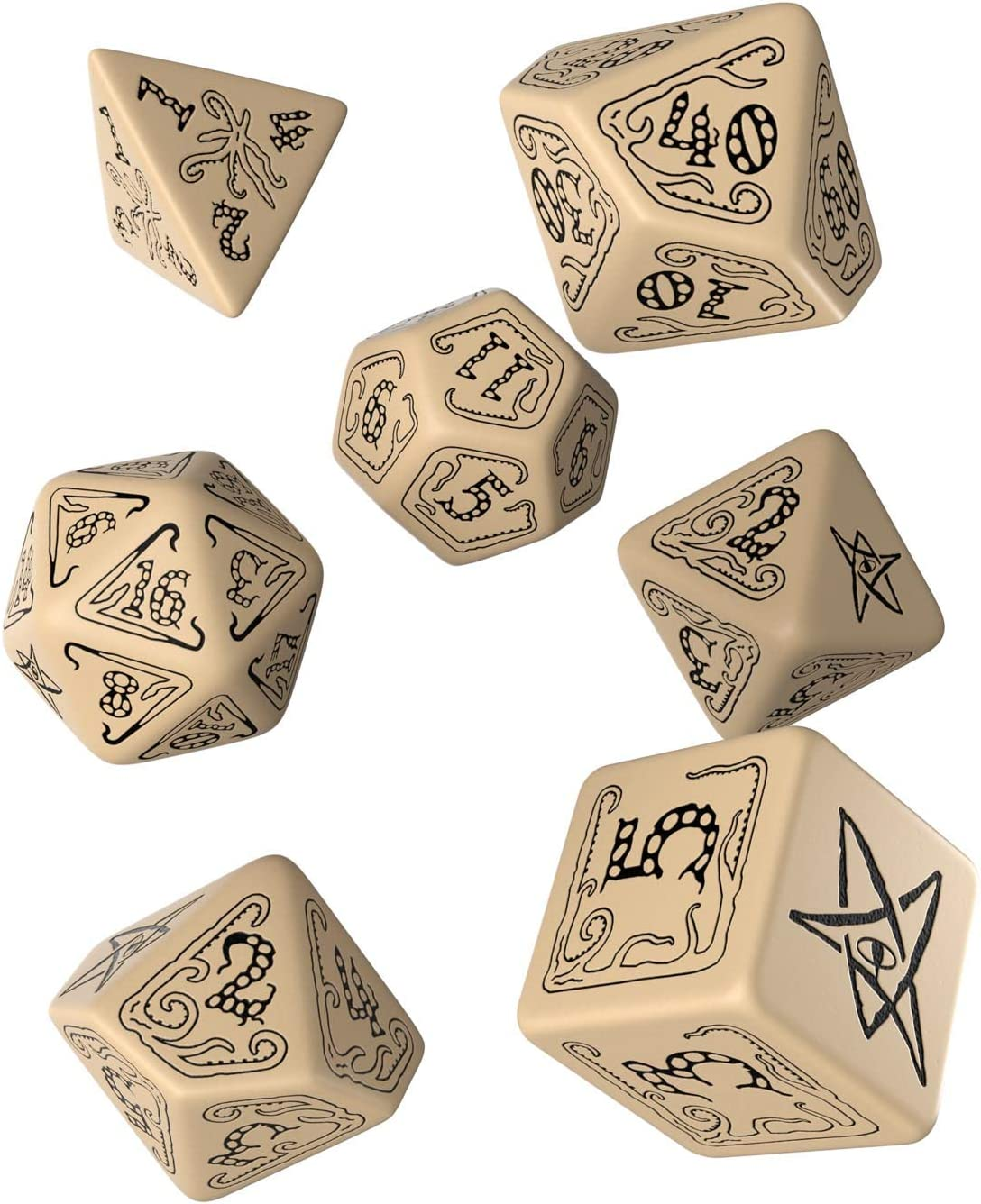 Q Workshop Call of Cthulhu RPG Beige & Black Ornamented Dice Set 7 Polyhedral Pieces: Amazon.es: Juguetes y juegos