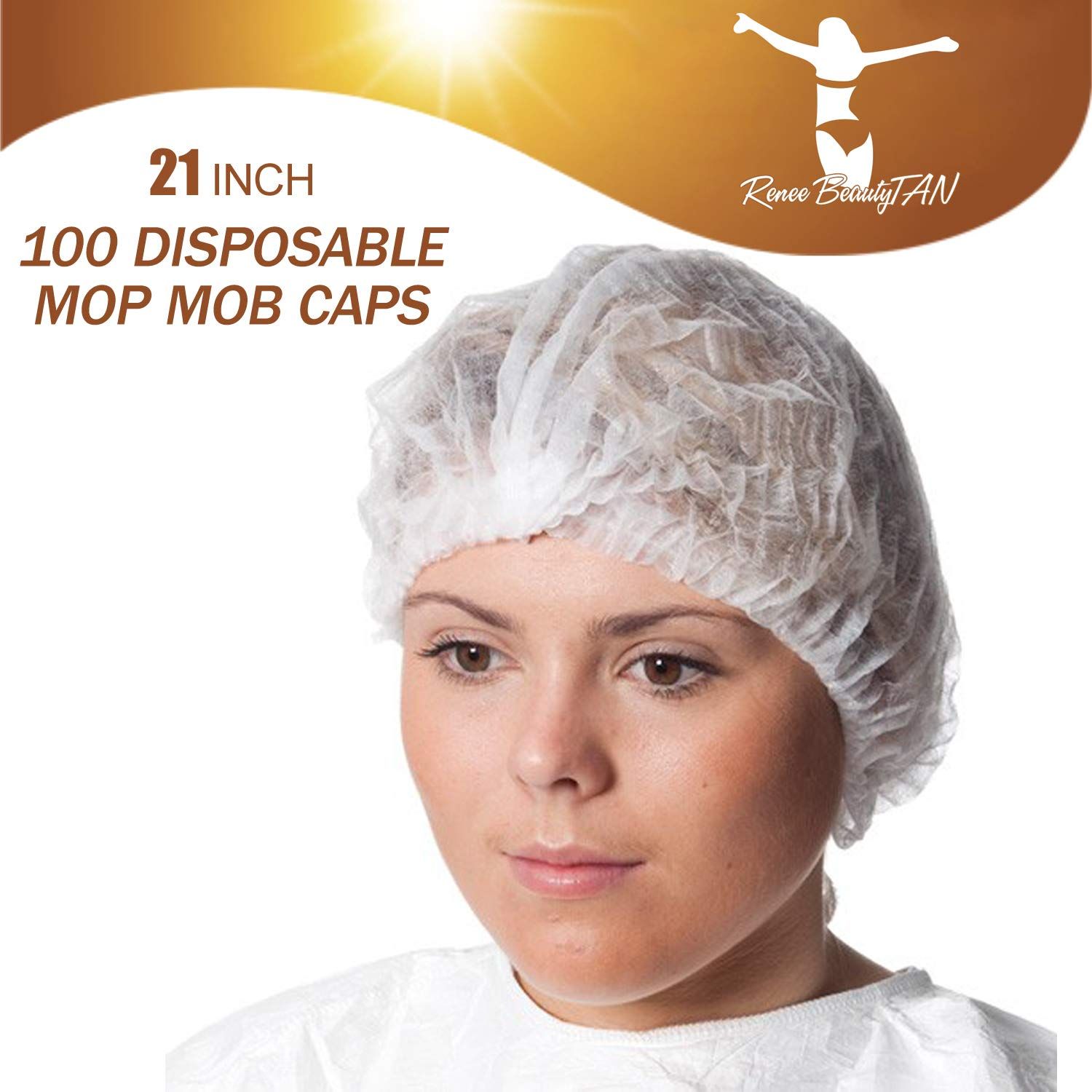 100 Disposable Mop Mob Bouffant Caps 21inch Clipped Hair Head Cover Net for Salon or Spray Tan