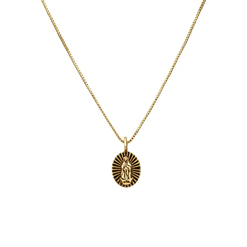 919f6d78d612e ACC PLANET Gold Coin Necklace 14K Gold Plated Box Chain Saint Medal Disc  Circle Vintage Dainty Necklace for Women