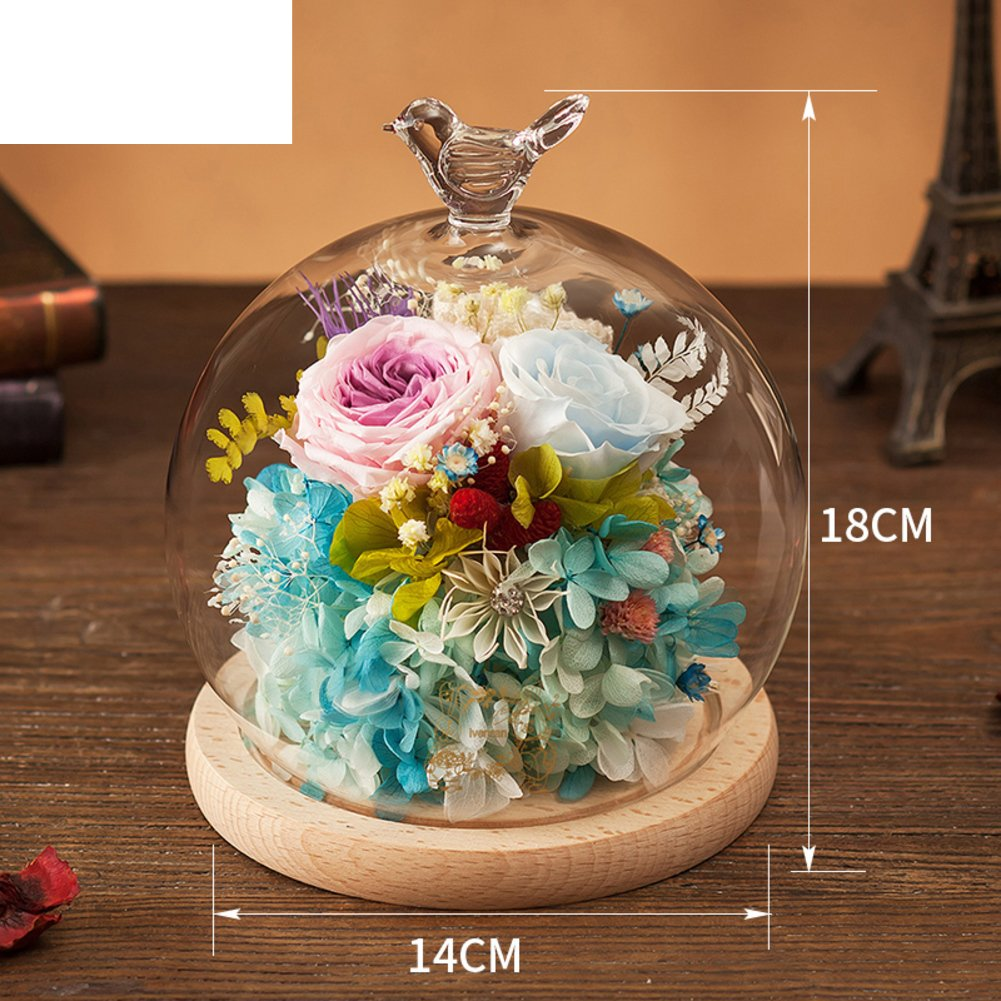 Immortal flower glass boxes Rose flower Birthday gift for mother's day-O
