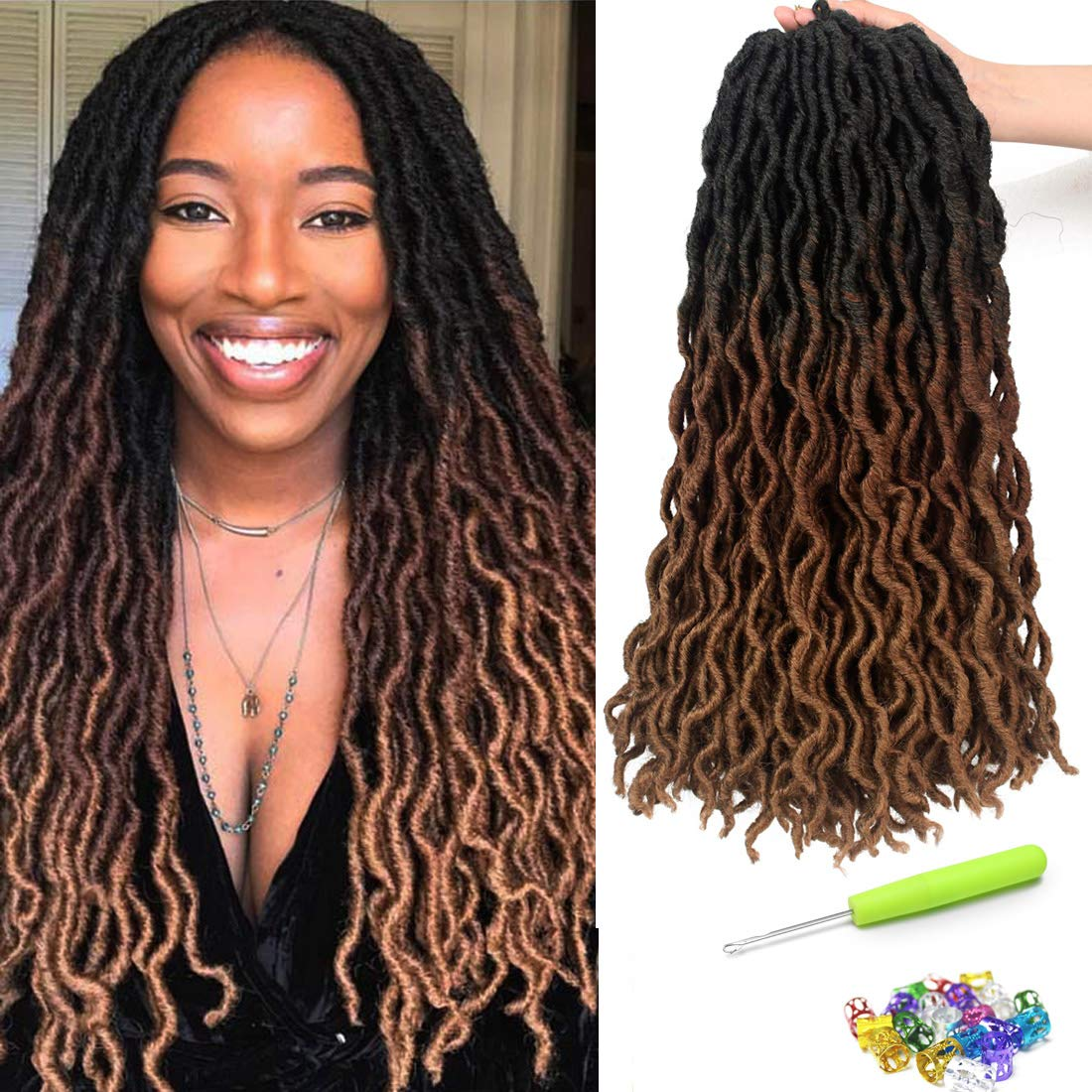 18 Inch Goddess Faux locs Crochet Hair 6 Packs/Lot Soft Gypsy Loc Wavy Crochet Braids Dreadlocks 3 Tone Ombre Curly Wavy Twist Braiding Hair Extensions 24 Strands/Pack African Roots Braid(#1B/30/27) by Liyate