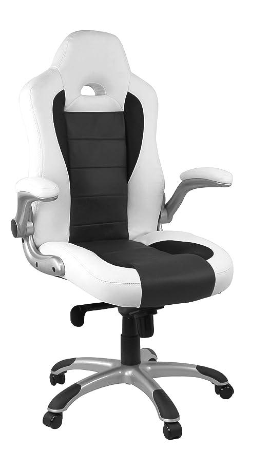 AMSTYLE Buffalo - Silla de oficina (imitación piel, reposabrazos abatibles), color blanco