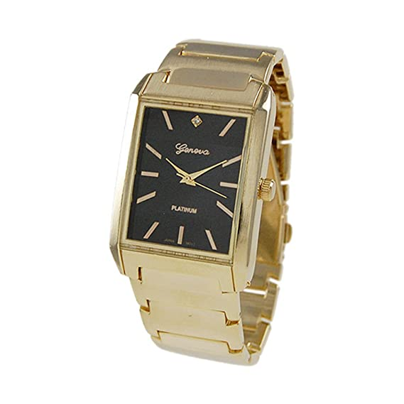 Geneva Platinum reloj de Hombre Rectangular Pulido Link dorado: Amazon.es: Relojes