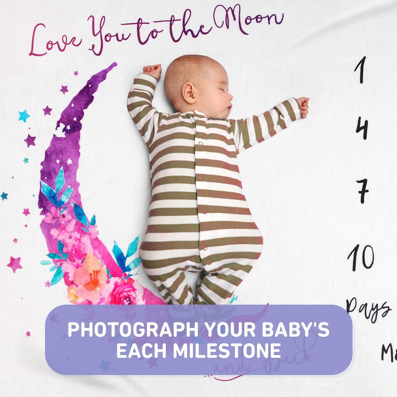 Baby Monthly Milestone Blanket Boy and Girls Baby Photo Month Blanket for Newborn Baby Shower,