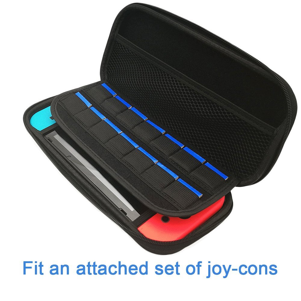 Vorida Case Compatible for Nintendo Switch, Carrying Travel Case Protective 14 Game Storage Slots & 9H Tempered Glass Screen Protector & Joy Con Grips Caps with Carrying Strap, Black