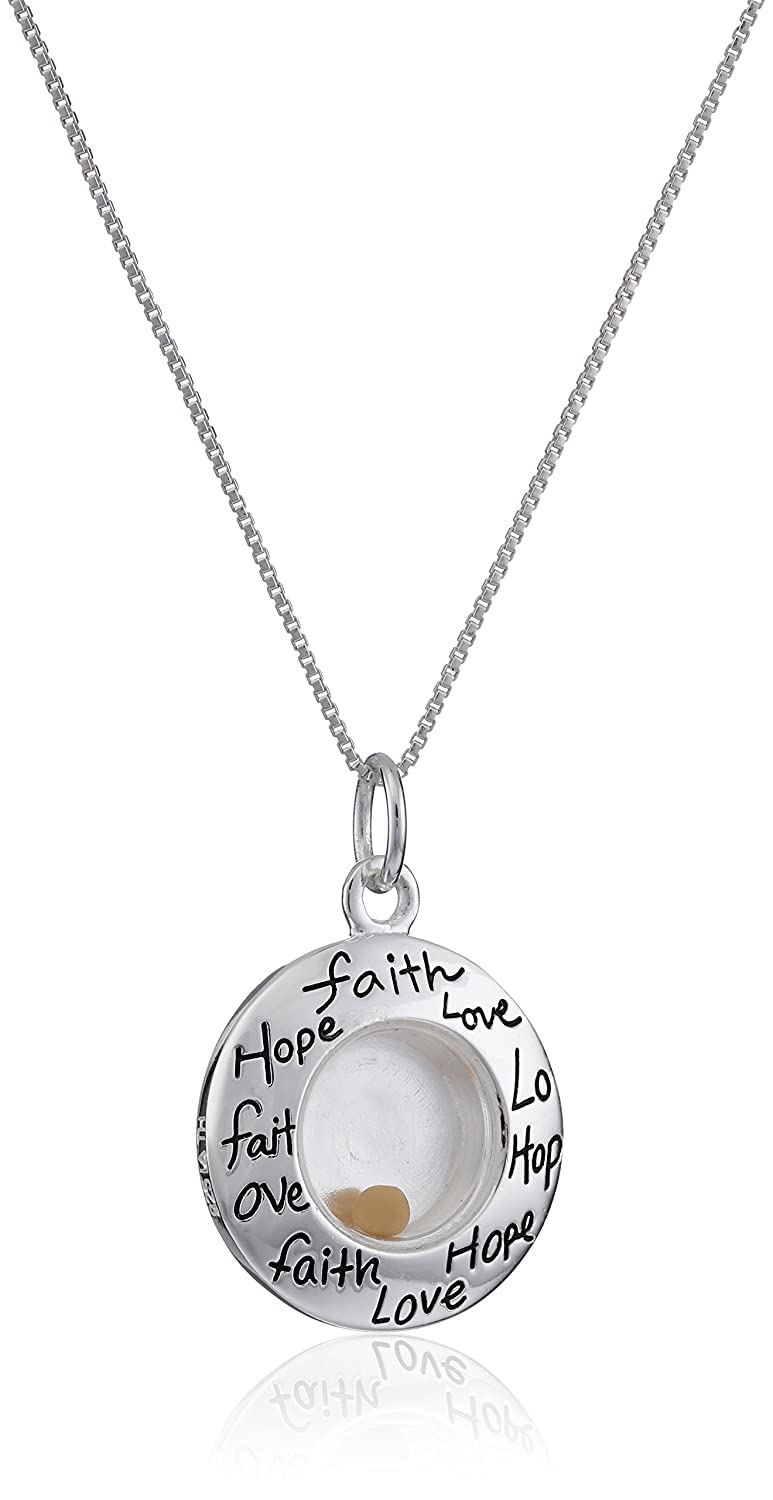 Amazon sterling silverfaith hope love floating mustard seed amazon sterling silverfaith hope love floating mustard seed circle pendant necklace 18 clothing aloadofball Image collections