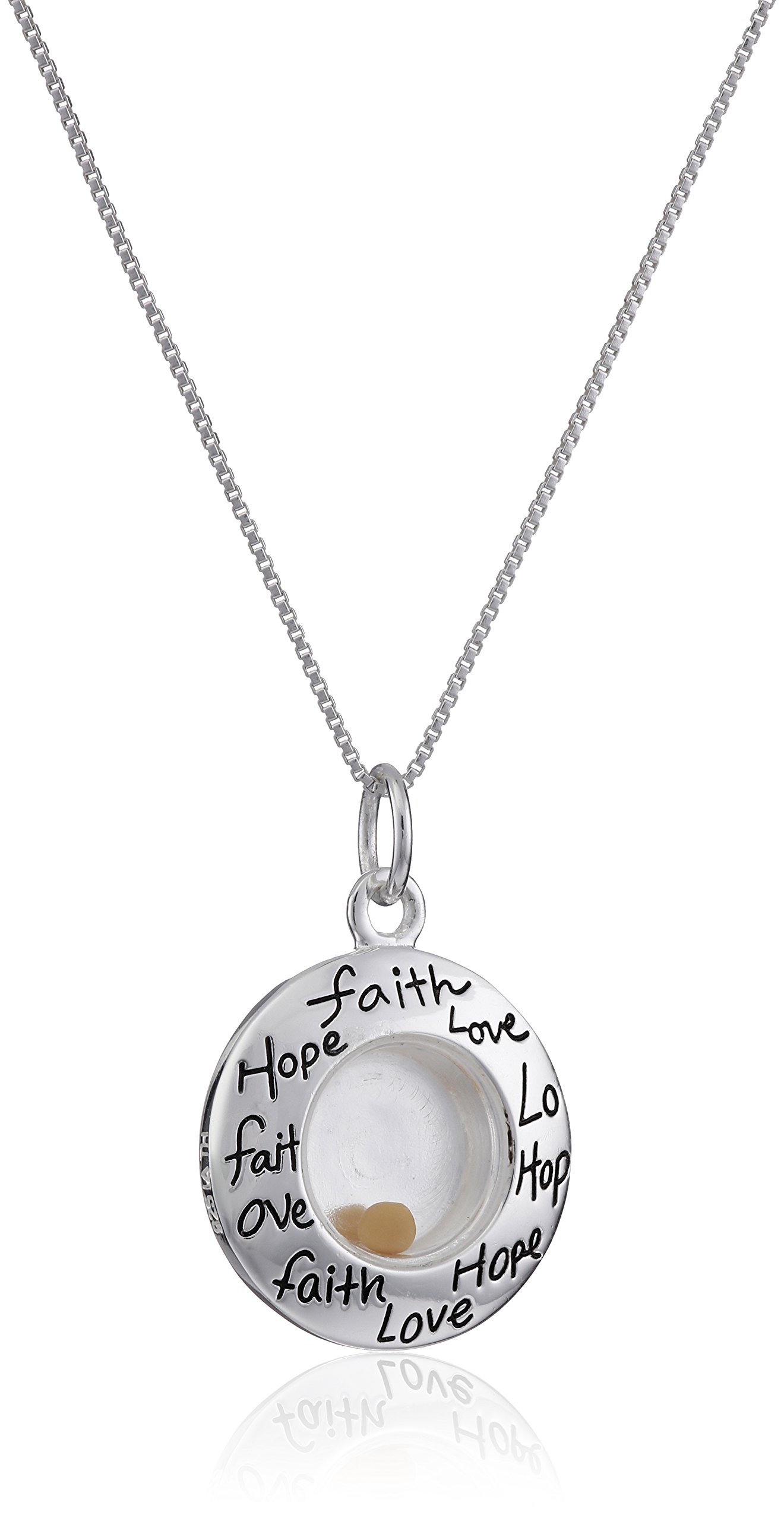 Sterling Silver''Faith Hope Love'' Floating Mustard Seed Circle Pendant Necklace, 18''