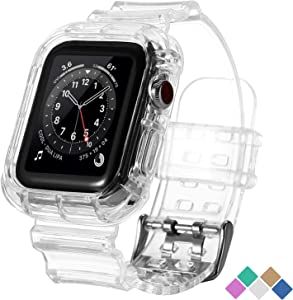 POHNUI Bands Compatible with Apple Watch Bands 38mm 40mm 42mm 44mm Women Men, Clear Band with Bumper Case, Soft Shockproof Band Strap for Apple iWatch Series SE/6/5/4/3/2/1(Transparent 38/40mm)