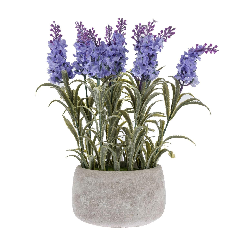 Homescapes Lilac Artificial Lavender Plant in Grey Concrete Pot Light Purple Flowers 25 cm for Indoor Decoration
