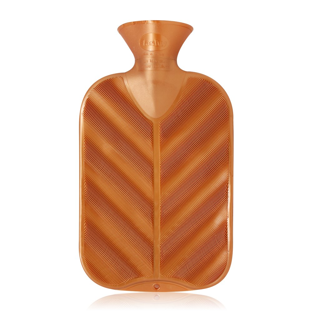 Fashy Classic Rubber Hot Water Bottle 3D Copper Ribbed Gold - Made in Germany