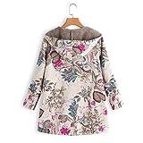 WOCACHI Womens Floral Coats Warm Faux Plush Vintage