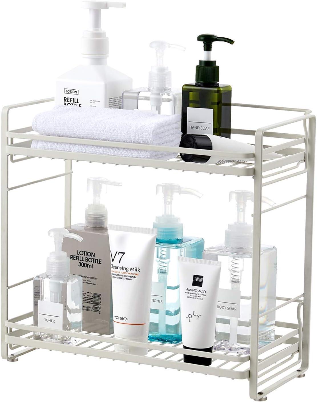 zccz Bathroom Organizer Countertop, Metal 2-Tier Bathroom Storage Shelves Tray Shower Caddy Kitchen Shelf for Bathroom Kitchen Office Organization, White