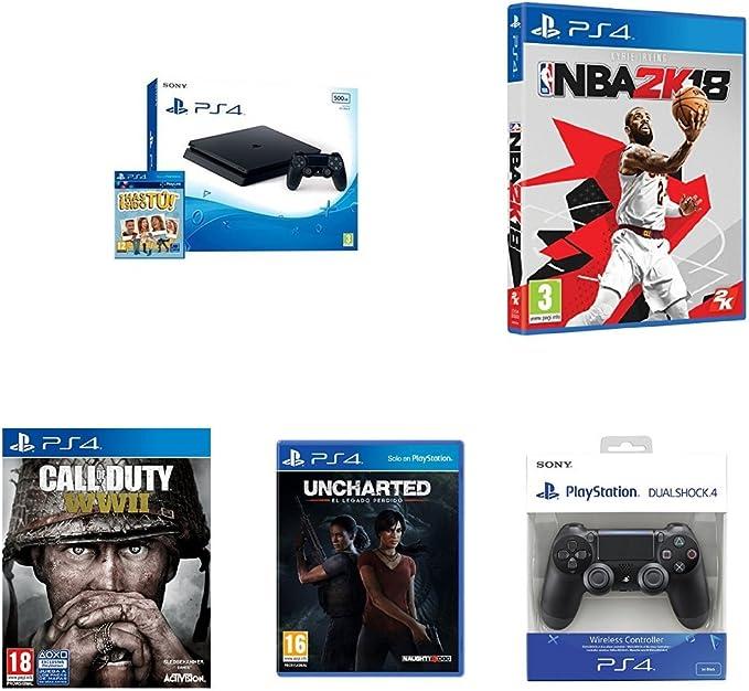 PlayStation 4 (PS4) - Consola De 500 GB, Color Negro + Voucher ¡Has Sido Tú! + Call Of Duty WWII + NBA 2K18 + Uncharted: El Legado Perdido + Mando Inalámbrico Dualshock 4 V2, Color Negro: Amazon.es: Videojuegos