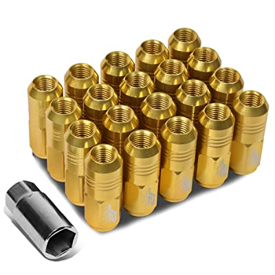 J2 Engineering LN-T7-007-15-GD Gold 7075 Aluminum M12X1.5 20Pcs L: 50mm Close End Lug Nut w/Socket Adapter: Automotive