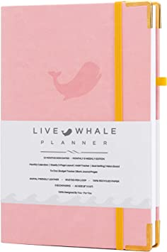 Thoughtful Details and Durable Features Live Whale Planner Track Goals and Achieve Well Being Pink Undated Weekly Planner Personal Planner Habit Tracker Crafted to Increase Productivity