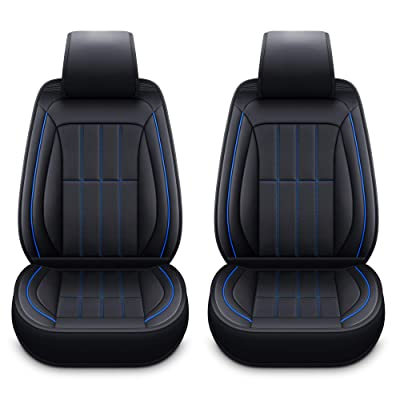 LUCKYMAN CLUB 2 Front Leather Seat Covers Fit for Dodge RAM 1500 Avenger RAM 2500 Caliber Dart Magnum Neon Nitro Intrepid Stratus Journey (2 PCS Front, Black and Blue): Automotive