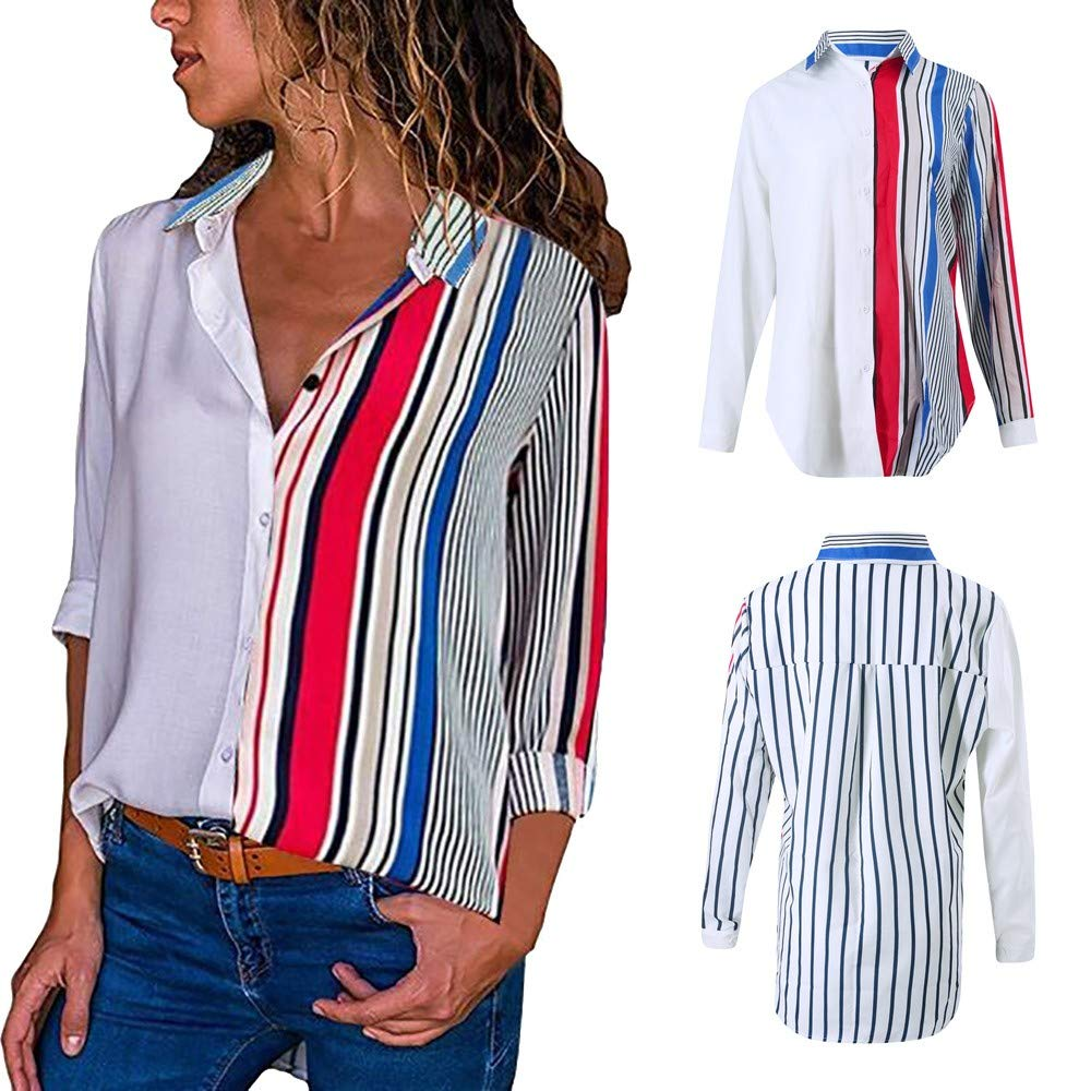 bbfb12826cdb0 Clearance Colorful Striped Shirt Top Womens Casual Long Sleeve Color Block  Stripe Button T Shirts...