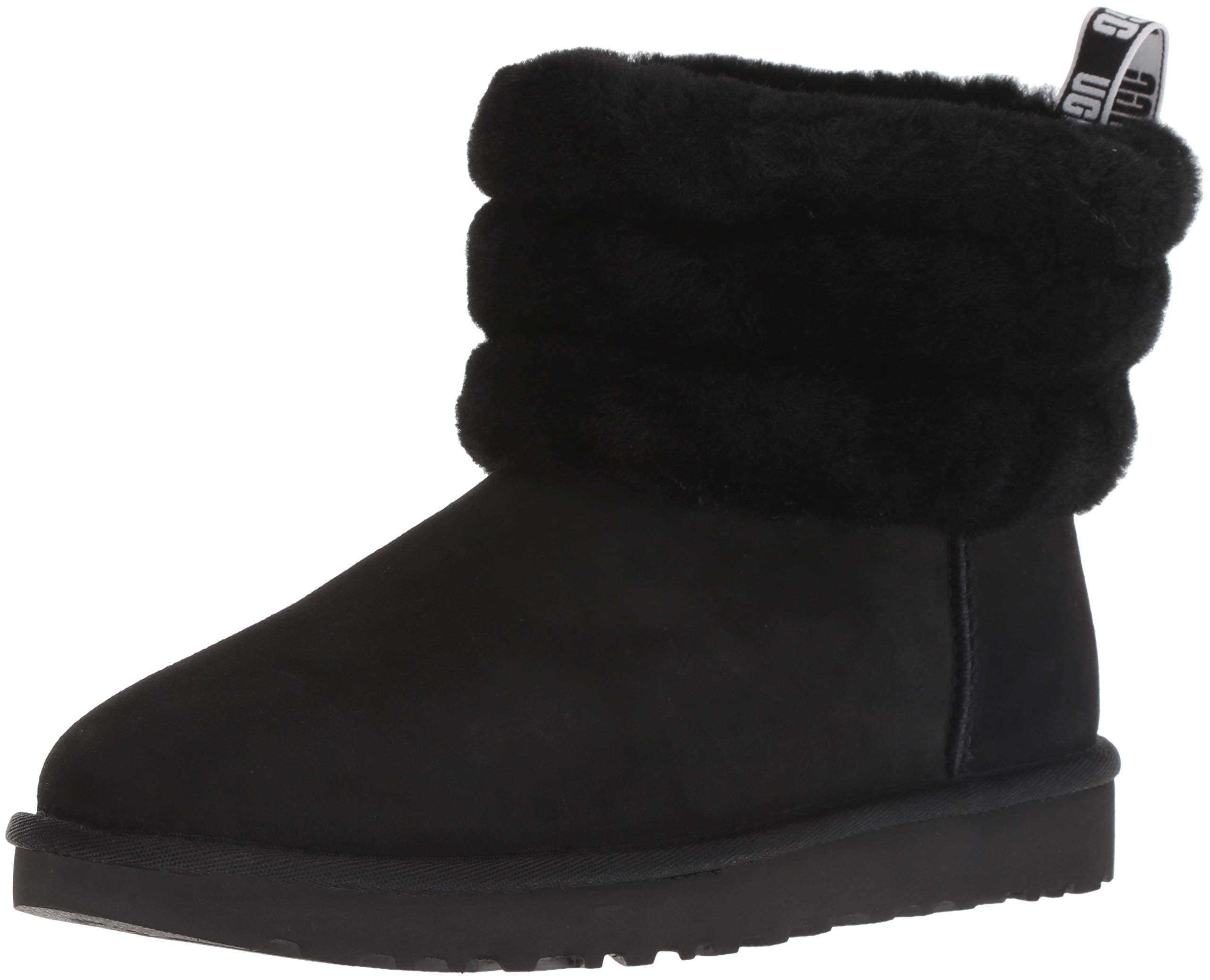 UGG Women's W Fluff Mini Quilted Fashion Boot, black, 9 M US by UGG