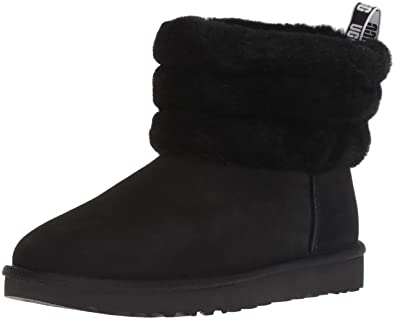 5bab4fef562 UGG Fluff Mini Quilted Black Logo Boot: Amazon.co.uk: Shoes & Bags