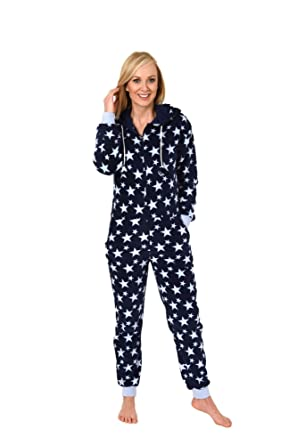 8d24b55759a241 Damen Schlafanzug Einteiler Jumpsuit Onesie Overall Langarm im coolen Look-  267 97 004: Amazon.de: Bekleidung