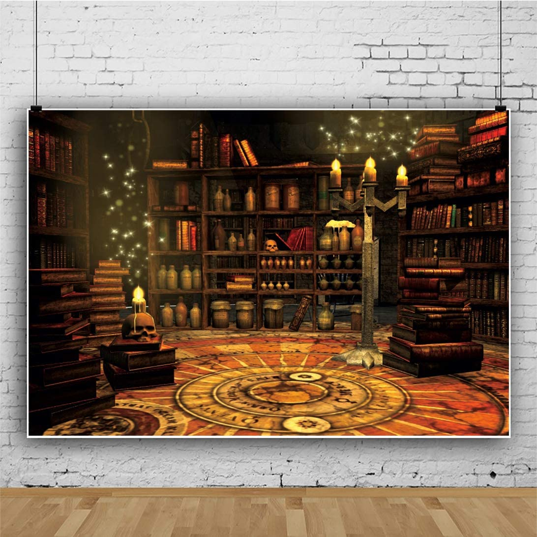 DaShan 10x8ft Horrible Halloween Backdrop Scary Skull Ghost Magic Books Witch Wizard Sorcerer Theme Halloween Party Photography Background Misty Creepy Haunted House Halloween Photo Props