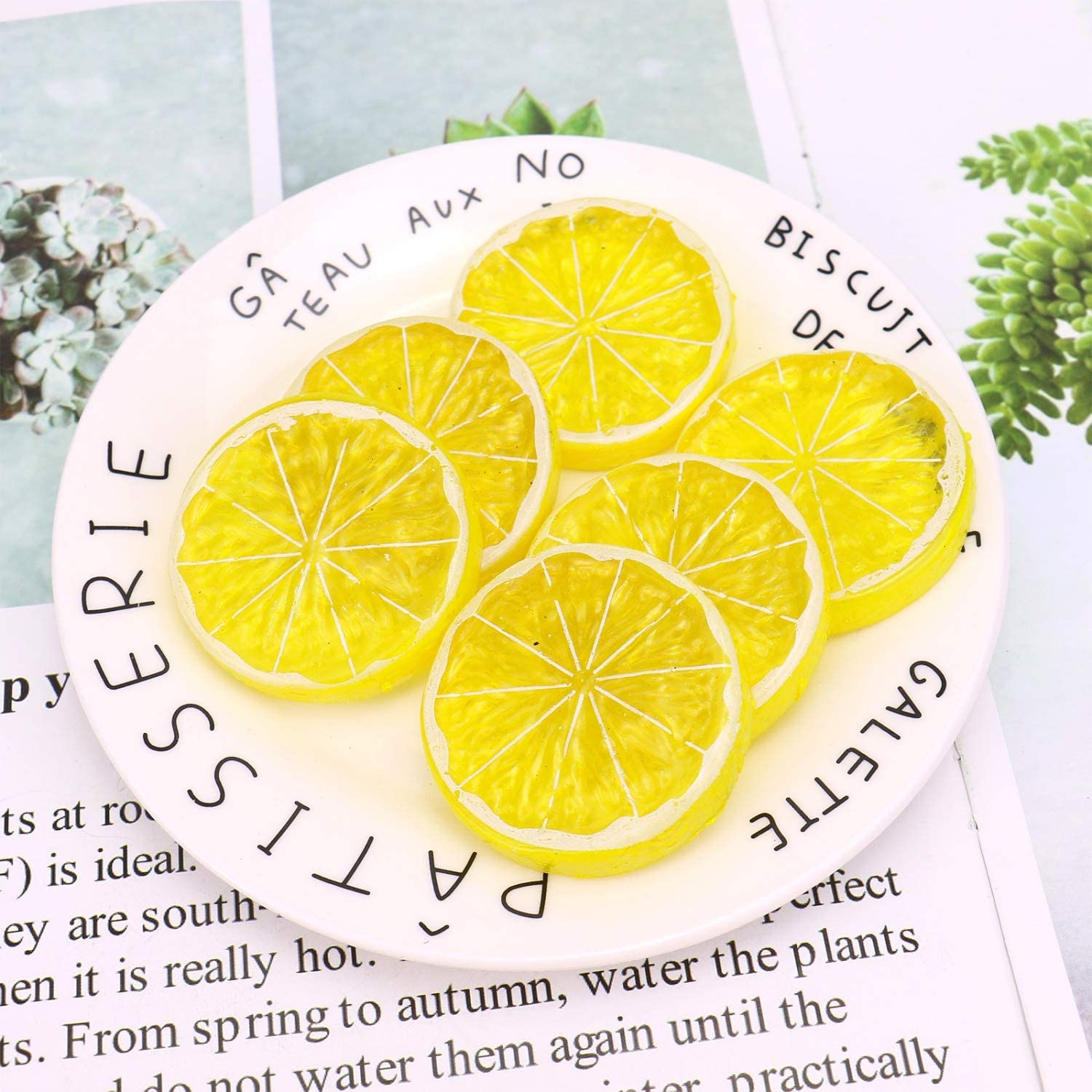 JETEHO 30PCS Mini Small Simulation Lemon Slices, Plastic Fake Artificial Fruit Model Party Kitchen Wedding Decoration (Yellow)
