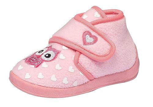 release date 85fb4 67189 ZAPATO EUROPE Mädchen Fleece Hausschuhe Klettschuhe Puschen Pantoffeln  Slipper Schuhe mit Klettverschluss und Fester Sohle Gr. 22–26 Eule rosa pink