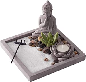 New Japanese Zen Sand Garden   Ideal Desk Decor to Enhance Mindfulness and Practice Meditation During the Day   Sandstone Finish with White Sand by Existentials