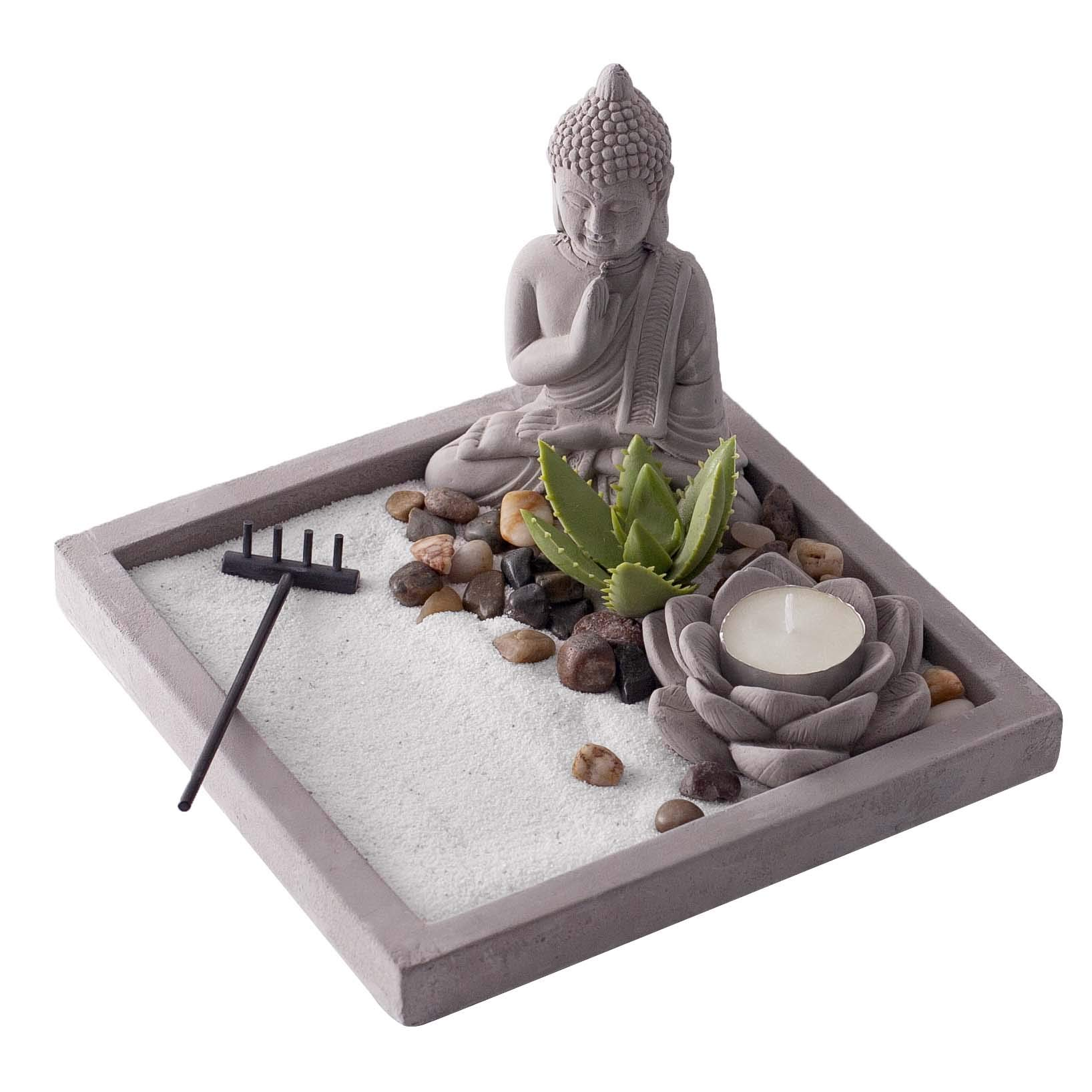 New Japanese Zen Sand Garden | Ideal Desk Decor to Enhance Mindfulness and Practice Meditation During the Day | Sandstone Finish with White Sand by Existentials by Existentials