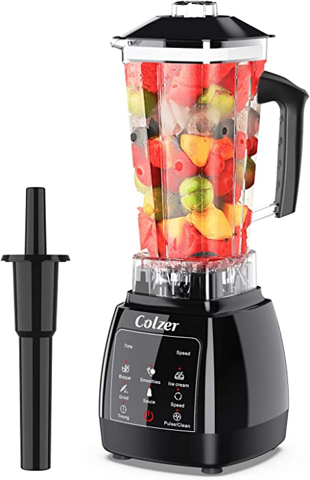 COLZER Blender for Shakes and Smoothies, Professional Countertop Blender with 2200-Watt Auto-iQ Base,Touchscreen Display,High Power Blender for Frozen Drinks,Shakes and Smoothies