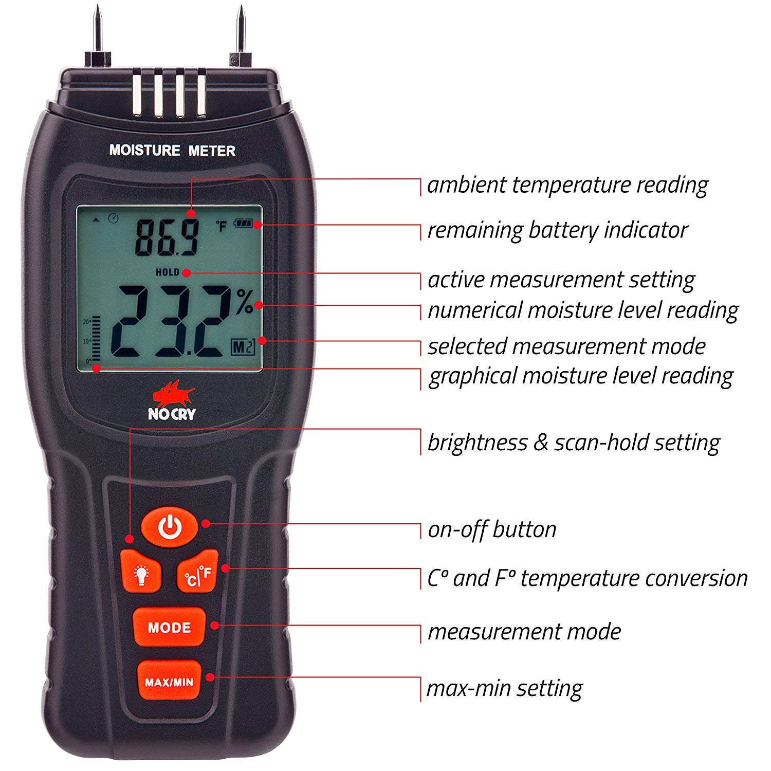 NoCry Digital Moisture Meter Battery and Replacement Electronic Probes Included NOCRY23 Water Leak Detector and Thermometer for Wood /& Building Materials