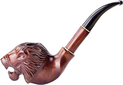Pipe Lion on the ball Wooden pipe wooden smoking pipe Hand carved pipe wood smoking bowl Smoking bowl Tobacco bowl Wood Tobacco Pipe