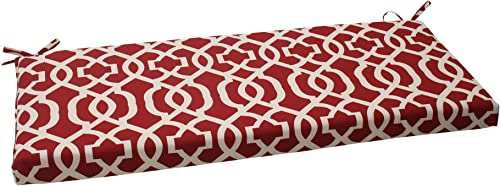 Pillow Perfect Indoor Outdoor New Geo Bench Cushion, Red