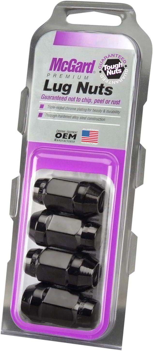 Set of 4 Bulge Cone Seat Style Lug Nut, McGard 64074 Black M14 x 1.5 Thread Size