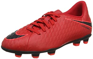 NIKE Kids Jr. Hypervenom Phade III (FG) Firm Ground Soccer Cleat University  Red