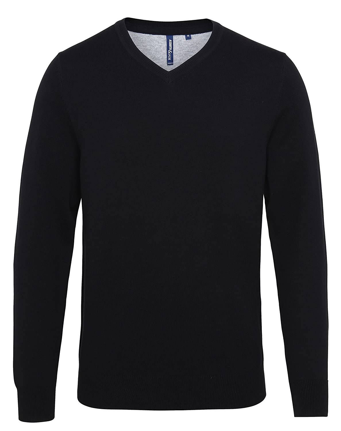 Asquith & Fox Mens Cotton Blend V Neck Sweater - 9 Colours - Black Heather - S