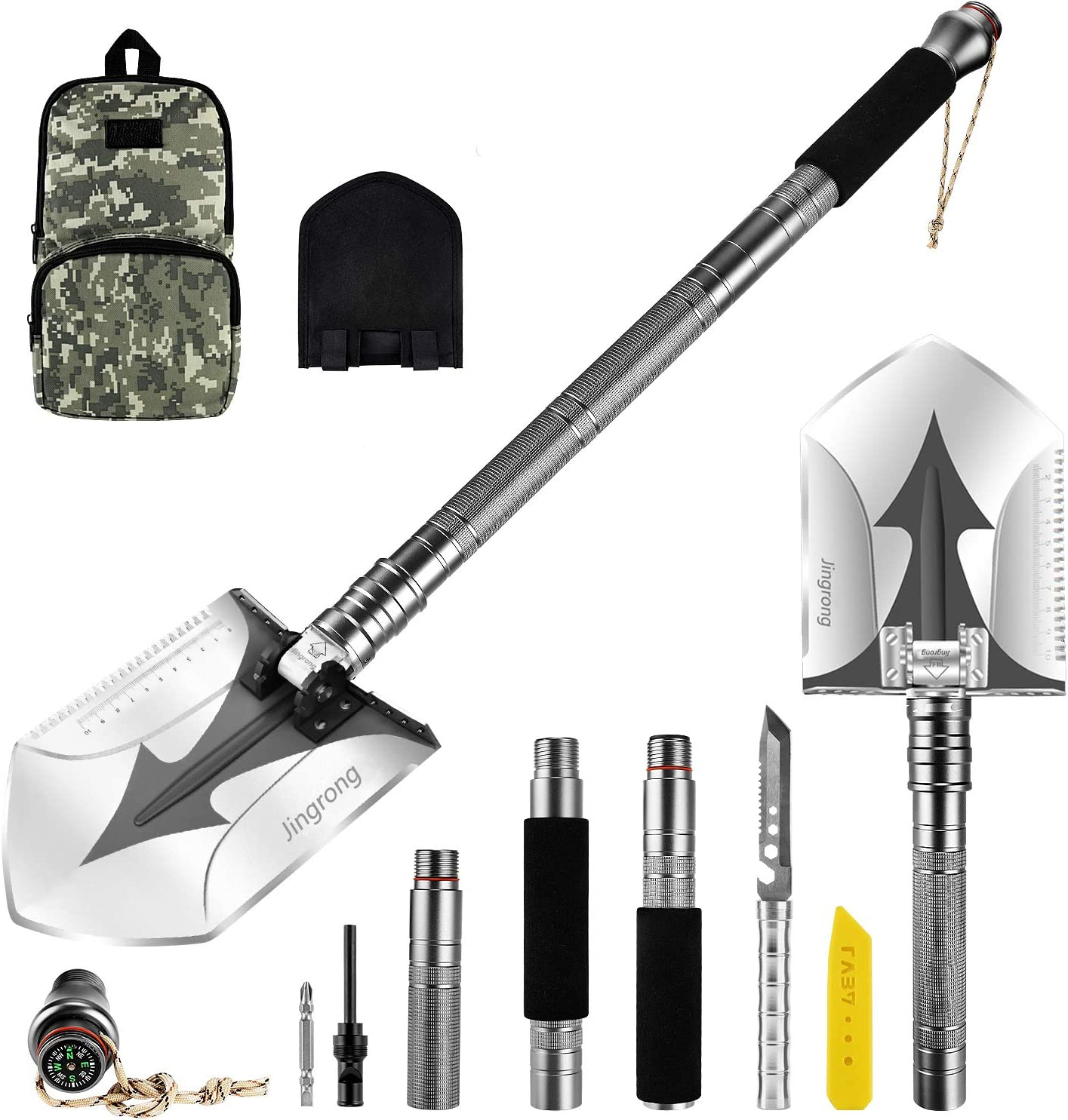 Jingrong Folding Shovel,Tactical Shovel,Portable Military Survival Shovel Multitool and Tactical Waist Pack for Hiking, Backpacking, Dry Camping,Trenching, Entrenching,Survival and Car Emergency