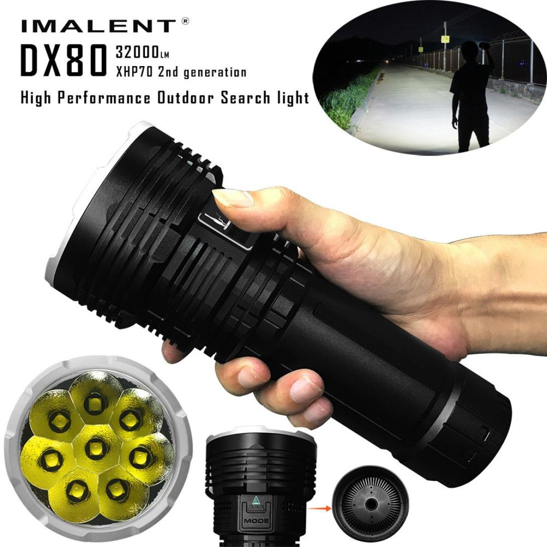 mokao Camping Hiking Super bright Flashlight 32000lumens DX80 XHP70 LED Most Powerful Flood LED Six output levels + Strobe Seach Flashlight + 18650 Rechargeable battery