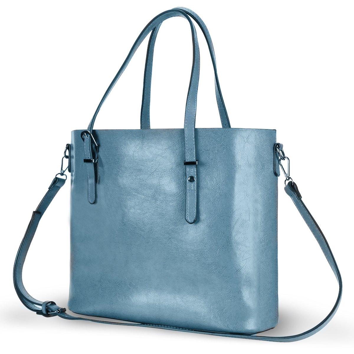Women Top Handle Satchel Handbags Shoulder Bag Messenger Tote Bag Purse IUKIO (Light Blue)