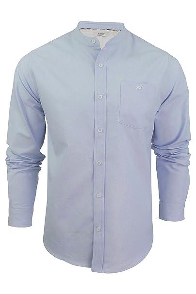 Xact Mens Grandad Collar Oxford Shirt Augustus Long Sleeved