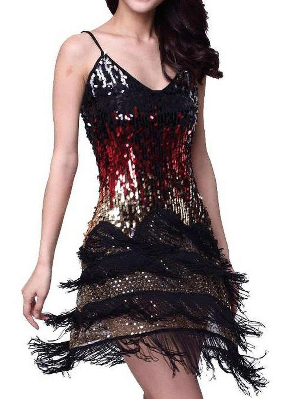 Vijiv Women's Adjustable Strap Gradient Sequin Fringe Dance Party Dress, Black, XS/S