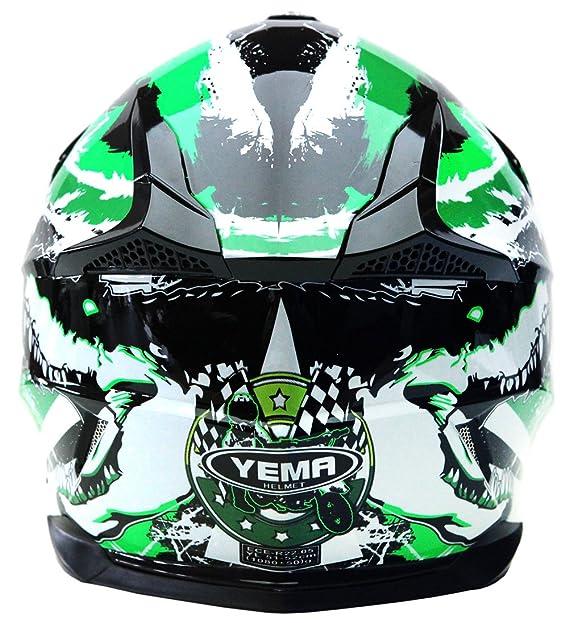 Black /& White Qtech 906 Motocross Helmet Orange Black Black XL 61-62cm
