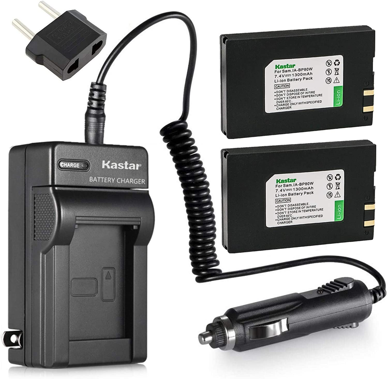 AC Charger Replacement for Samsung IA-BP80W IA-BP80WA and Samsung VP-D385 VP-D391 VP-D3910 VP-D392 VP-D395 VP-DX105 VP-DX200 VP-DX205 VP-DX2050 VP-DX210 SC-D381 SC-D382 SC-D383 Kastar 2-Pack Battery