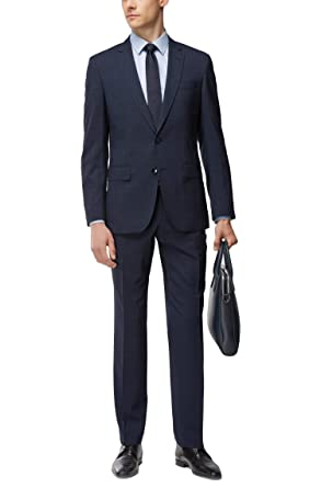 6a083b6e Amazon.com: Hugo Boss Men's 'Huge/Genius' Navy Plaid Slim Fit ...