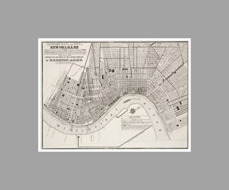 Gallery wrapped canvas print of my hand drawn New Orleans artwork \u2013 several sizes and color options New Orleans neighborhoods map art decor