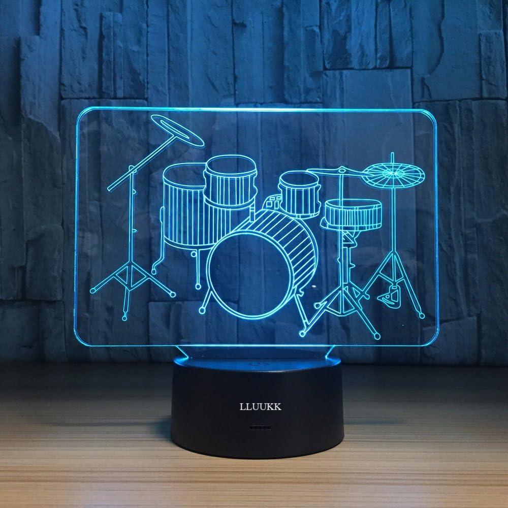 LLUUKK Visual 3D Night light Lamp Drum toys Desk Lamp Table decoration household accessories Kids gift boys festival for music lovers