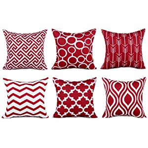 Top Finel Accent Decorative Throw Pillows Durable Canvas Outdoor Cushion Covers 16 X 16 for Couch Bedroom, Set of 6, Burgundy