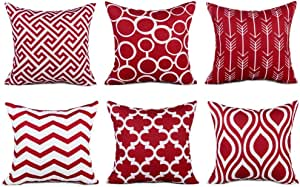 Topfinel Accent Decorative Throw Pillows Durable Canvas Outdoor Cushion Covers 16 x 16 for Couch Bedroom, Set of 6, Burgundy