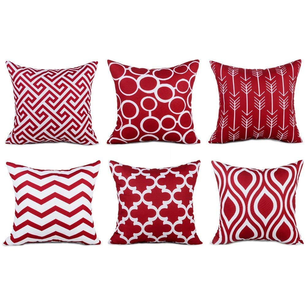 Top Finel 100% Durable Canvas Square Decorative Throw Pillows Cushion Covers Pillowcases for Sofa,Set of 6,18×18 Inch-Wine