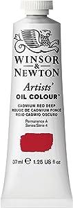 Winsor & Newton Artists Oil Colour Paint, 37-ml Tube, Cadmium Red Deep